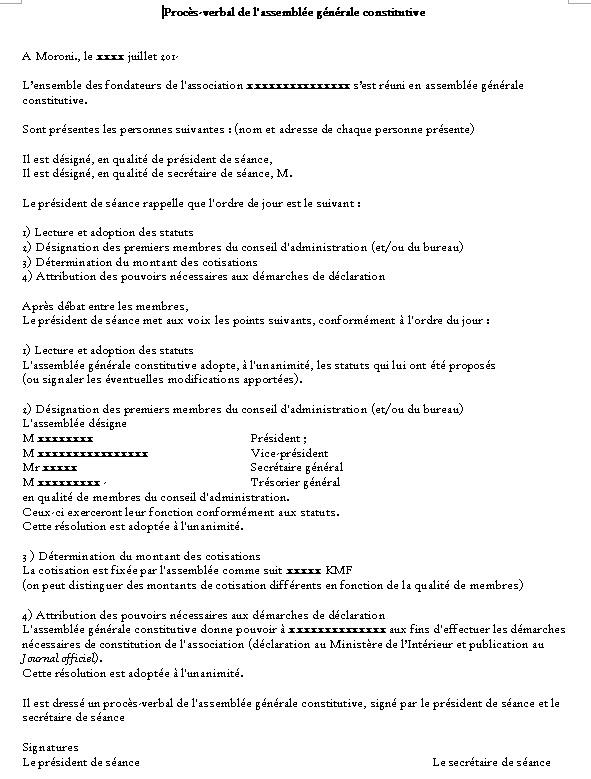Modele de pv d 39 une assembl e g nerale constitutive - Modification bureau association loi ...